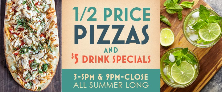 Scaddabush - 1/2 Price Pizza & $5 Drink Specials